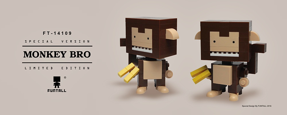 Funtall Cube Monkey Bro Special Animal Figure Design with Banana FT-14109