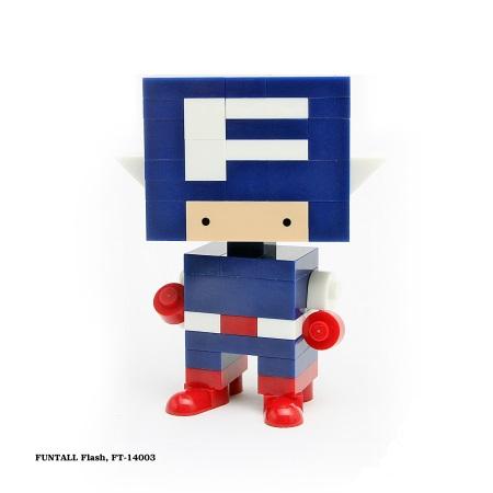 名稱:方頭閃電, 型號:FT-14003, 系列:方頭人積木公仔. Name:Flash, model:FT-14003, Funtall Amis series.