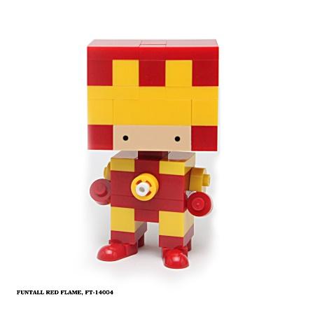 名稱:紅色火焰, 型號:FT-14004, 系列:方頭人積木公仔. Name:Red Flame, Model:FT-14004, Funtall Amis Series.