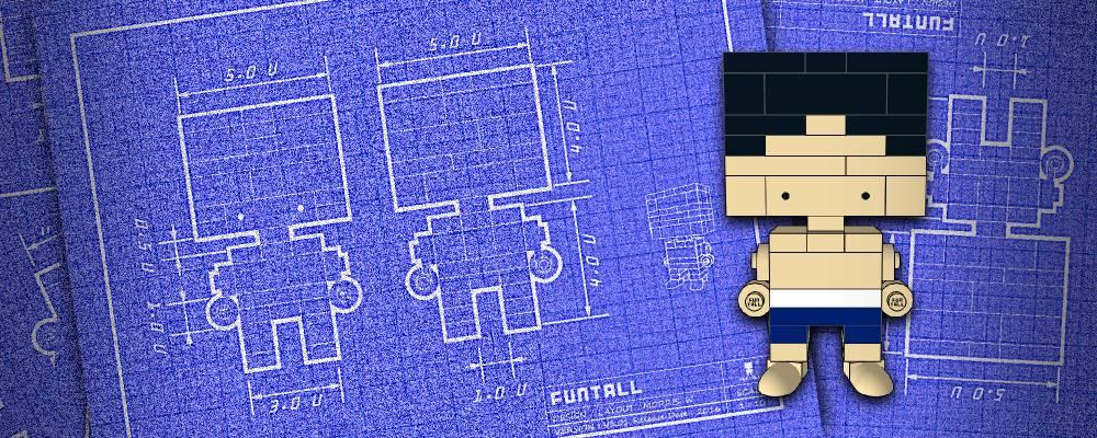 方頭人 積木公仔 設計圖海報 funtall engineering drawing blue print layout