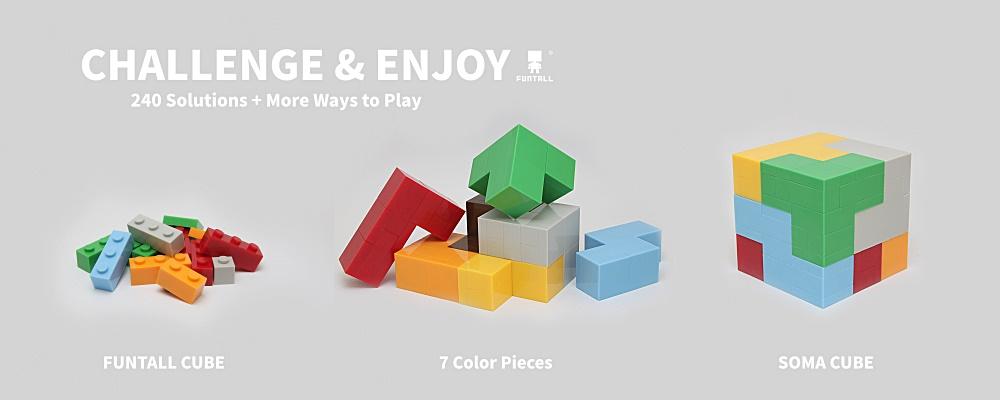 採用我們的方頭積木來組成七個玩具積木,並且拼成240種方塊組合! By applying our Funtall Cube, you can create seven Soma Cube toy parts and challenge the 240 solutions.