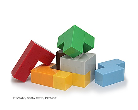名稱:索瑪方塊, 型號:FT-24001, 系列:方頭益智系列. Name:Soma Cube, Model:FT-24001, Funtall Maze series.