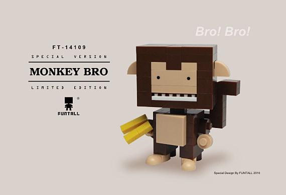 方頭人 積木 公仔 的猴子兄弟是動物星的智多星,也是愛搗蛋的頑皮鬼。Monkey Bro is the smart head on animal planet, with Funtall Cube design.