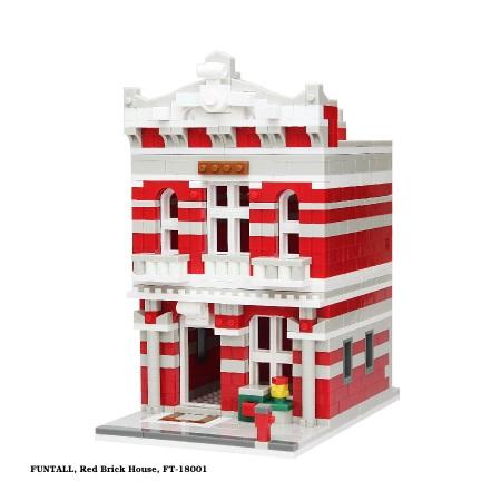 方頭積木建築,紅磚洋樓 建築系列 袖珍房屋 FUNTALL Red Brick House Toy Building Blocks, Funtall FT-18001